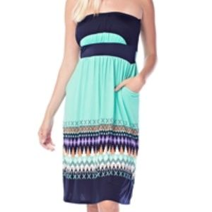 Navy and Green Pocket Strapless Dress